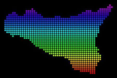 Spectrum dotted pixel Sicilia Map. Vector geographic map in bright colors on a black background. Multicolored vector pattern of Sicilia Map made of dot elements.