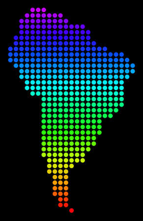 Spectrum dotted pixelated South America Map. Vector geographic map in bright colors on a black background. Colored vector composition of South America Map composed of circle dots.