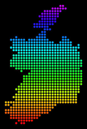 Spectrum dotted pixel Ireland Republic Map. Vector geographic map in bright colors on a black background. Multicolored vector composition of Ireland Republic Map organized of small circles.