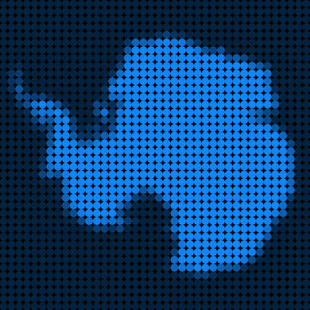 Dotted pixel Antarctica Map. Vector geographic map in blue colors. Vector composition of Antarctica Map composed of circle dots.