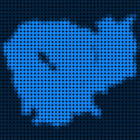 Dotted pixel Cambodia Map. Vector geographic map in blue colors. Vector mosaic of Cambodia Map created of round dots.