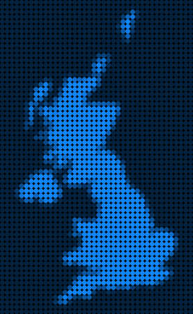 Dotted pixel United Kingdom Map. Vector geographic map in blue colors. Vector composition of United Kingdom Map created of circle dots.