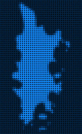 Dotted pixelated Phuket Map. Vector geographic map in blue colors. Vector concept of Phuket Map constructed of small circles.
