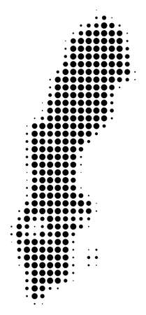 Sweden Map halftone vector icon. Illustration style is dotted iconic Sweden Map icon symbol on a white background. Halftone matrix is circle points.