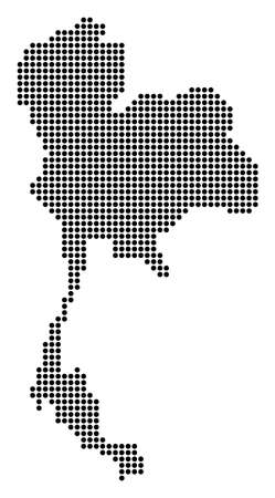 Dotted Thailand Map Vector composition and created of round dots.