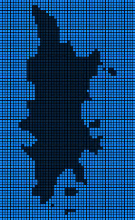 Dotted pixelated Phuket Map. Raster geographic map in blue colors. Raster pattern of Phuket Map designed of rounded square elements.