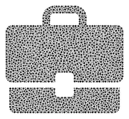 Case composition of round dots in different sizes and color tinges. Small circles are united into case vector composition. Dotted vector illustration.