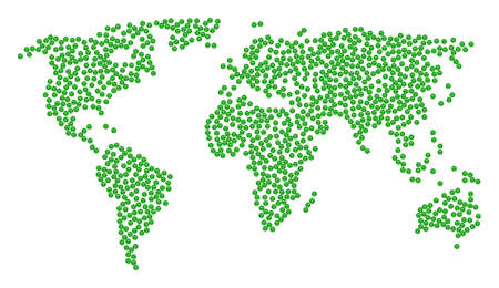 Global geography pattern map organized of smiled sticker items. Vector smiled sticker scattered flat elements are organized into mosaic geographic composition.