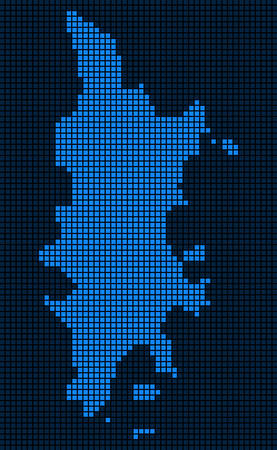 Dot Phuket Map. Vector composition of Phuket Map combined of square items. Vector geographic dotted pixel map in blue colors. 向量圖像