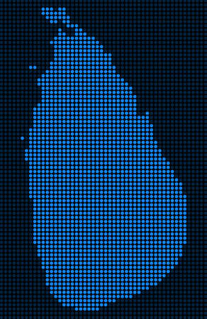 Dotted pixelated Sri Lanka Island Map. Vector geographic map in blue colors. Vector pattern of Sri Lanka Island Map combined of small circles.