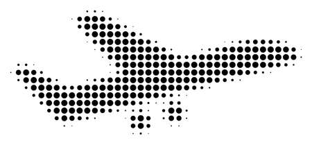 Aiplane halftone vector pictogram. Illustration style is dotted iconic Aiplane icon symbol on a white background. Halftone texture is circle blots.