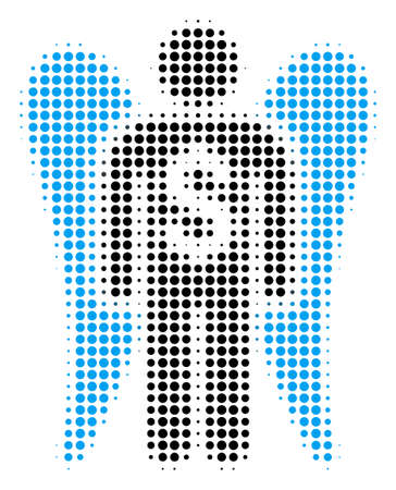 Angel Investor halftone vector icon. Illustration style is dotted iconic Angel Investor icon symbol on a white background. Halftone matrix is round elements.