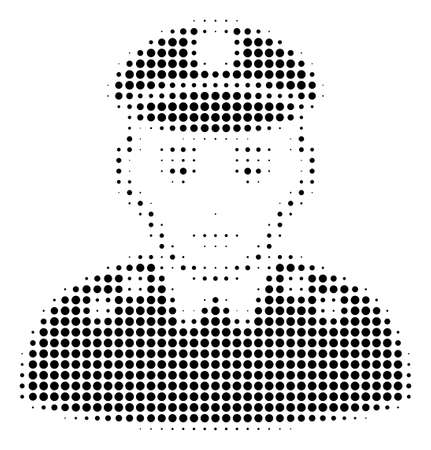 Army General halftone vector icon. Illustration style is dotted iconic Army General icon symbol on a white background. Halftone matrix is circle points.