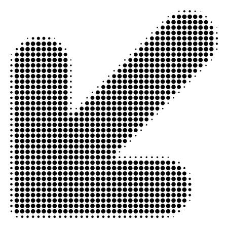 Arrow Down Left halftone vector pictogram. Illustration style is dotted iconic Arrow Down Left icon symbol on a white background. Halftone pattern is round blots. 矢量图像