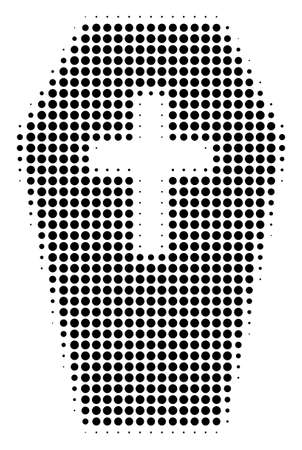 Coffin halftone vector icon. Illustration style is dotted iconic coffin icon symbol on a white background. Halftone matrix is circle elements. Illustration