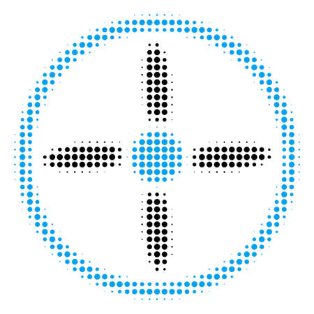 Drone Screw halftone vector icon. Illustration style is dotted iconic Drone Screw icon symbol on a white background. Halftone pattern is circle items.