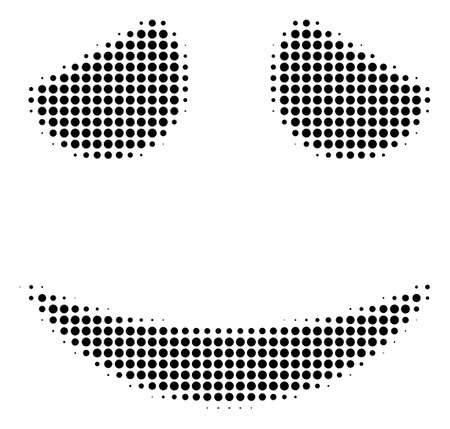 Embarrassed smile halftone vector icon. Illustration style is dotted iconic embarrassed smile icon symbol on a white background. Halftone matrix is round spots. Иллюстрация
