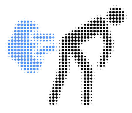 Fart Gases halftone vector icon. Illustration style is dotted iconic Fart Gases icon symbol on a white background. Halftone matrix is round points.