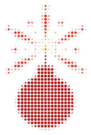 Fireworks Detonator halftone vector icon. Illustration style is dotted iconic Fireworks Detonator icon symbol on a white background. Halftone matrix is round spots.