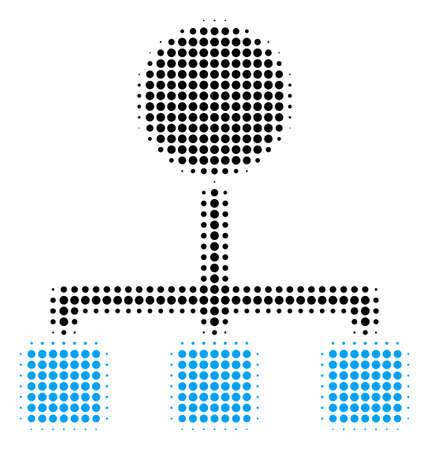 Hierarchy halftone vector icon. Illustration style is dotted iconic Hierarchy icon symbol on a white background. Halftone matrix is circle points.
