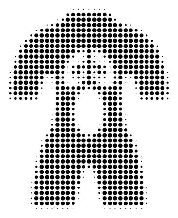 Human Anatomy halftone vector pictogram. Illustration style is dotted iconic Human Anatomy icon symbol on a white background. Halftone texture is round points.