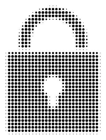 Lock halftone vector icon. Illustration style is dotted iconic lock icon symbol on a white background. Halftone texture is circle items.