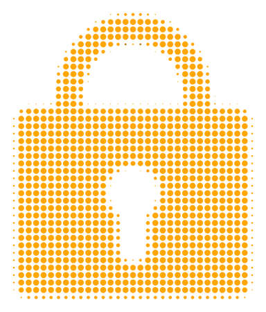 Lock halftone vector pictogram. Illustration style is dotted iconic lock icon symbol on a white background. Halftone matrix is circle dots.