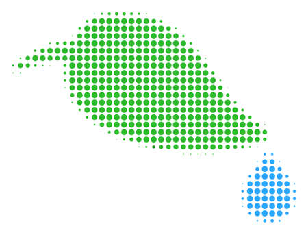 Natural Leaf With Drop halftone vector pictogram. Illustration style is dotted iconic Natural Leaf With Drop icon symbol on a white background. Halftone matrix is circle dots.