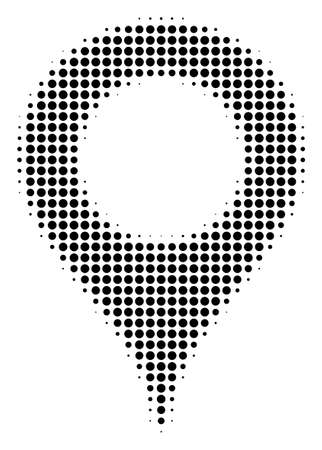 Map Marker halftone vector pictogram. Illustration style is dotted iconic Map Marker icon symbol on a white background. Halftone pattern is circle points.