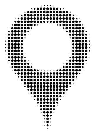 Pictogramme de vecteur de demi-teinte marqueur de carte. Le style d'illustration est un symbole d'icône de marqueur de carte emblématique en pointillé sur fond blanc. Le motif en demi-teinte est constitué de points de cercle.