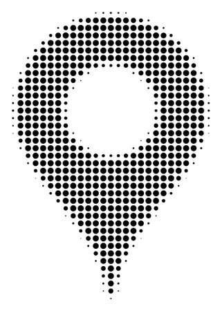 Map Pointer halftone vector pictogram. Illustration style is dotted iconic Map Pointer icon symbol on a white background. Halftone texture is circle points. Illustration
