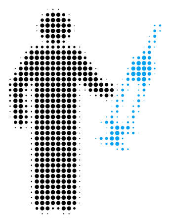 Medic halftone vector icon. Illustration style is dotted iconic Medic icon symbol on a white background. Halftone texture is round elements.