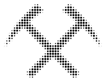 Mining Hammers halftone vector pictogram. Illustration style is dotted iconic Mining Hammers icon symbol on a white background. Halftone texture is round dots. Illustration