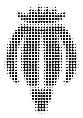 Opium Poppy halftone vector pictogram. Illustration style is dotted iconic Opium Poppy icon symbol on a white background. Halftone pattern is circle points.