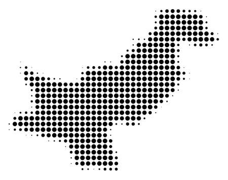 Pakistan Map halftone vector pictogram. Illustration style is dotted iconic Pakistan Map icon symbol on a white background. Halftone pattern is circle items. Иллюстрация