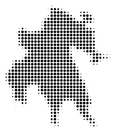 Peloponnese Half-Island Map halftone vector icon. Illustration style is dotted iconic Peloponnese Half-Island Map icon symbol on a white background. Halftone pattern is round elements. Illustration