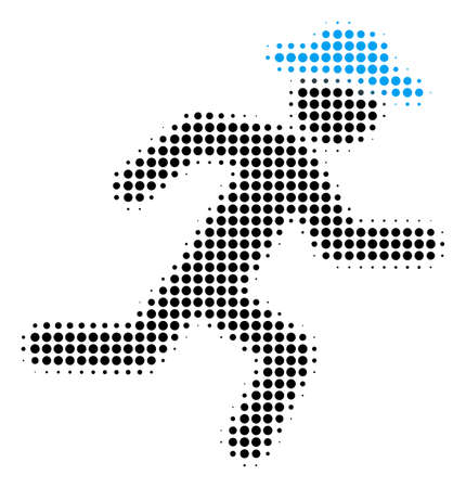 Running Gentleman halftone vector icon. Illustration style is dotted iconic Running Gentleman icon symbol on a white background. Halftone matrix is round spots.