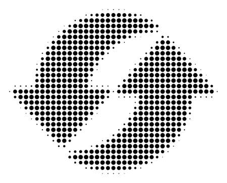 Refresh halftone vector pictogram. Illustration style is dotted iconic Refresh icon symbol on a white background. Halftone matrix is circle blots.  イラスト・ベクター素材