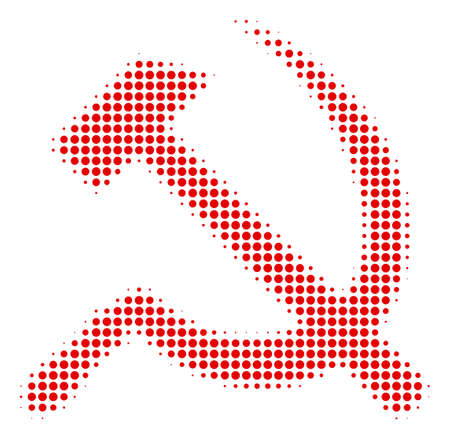 Sickle And Hammer halftone vector pictogram. Illustration style is dotted iconic Sickle And Hammer icon symbol on a white background. Halftone matrix is circle blots.