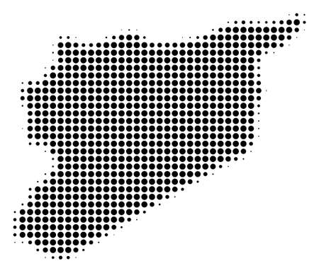 Syria map halftone vector pictogram. Illustration style is dotted iconic Syria map icon symbol on a white background. Halftone pattern is round items.