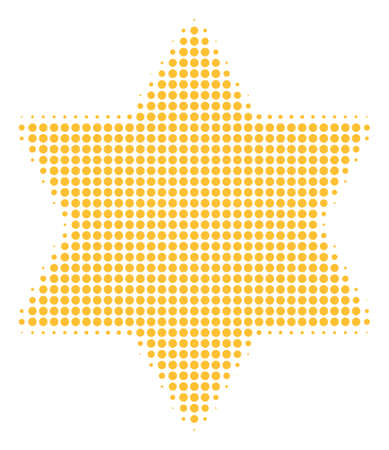 Six pointed star halftone vector icon. Illustration style is dotted iconic six pointed star icon symbol on a white background. Halftone matrix is round blots.