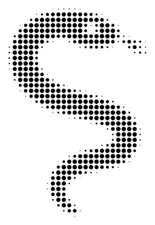 Snake halftone vector icon. Illustration style is dotted iconic snake icon symbol on a white background. Halftone pattern is circle items.