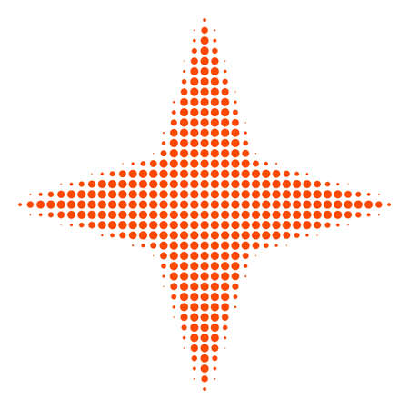 Space star halftone vector icon. Illustration style is dotted iconic space star icon symbol on a white background. Halftone pattern is circle spots.