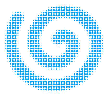 Spiral halftone vector pictogram. Illustration style is dotted iconic spiral icon symbol on a white background. Halftone texture is round spots.