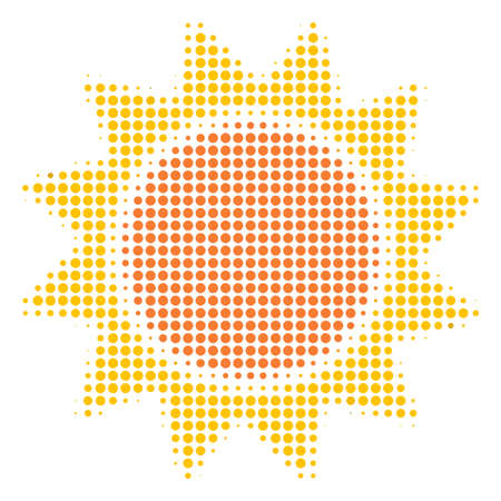 Sun halftone vector icon. Illustration style is dotted iconic Sun icon symbol on a white background. Halftone matrix is circle dots.