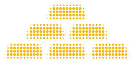 Pictogramme de vecteur de demi-teintes Treasure Bricks. Le style d'illustration est un symbole d'icône emblématique en briques de trésor en pointillé sur fond blanc. La texture en demi-teinte est des taches circulaires. Vecteurs