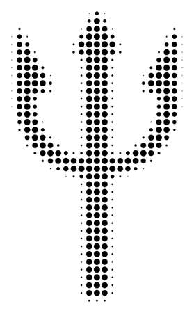 Trident Fork halftone vector icon. Illustration style is dotted iconic Trident Fork icon symbol on a white background. Halftone texture is round blots.