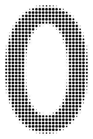 Zero digit halftone vector pictogram. Illustration style is dotted iconic zero digit icon symbol on a white background. Halftone texture is circle blots. Иллюстрация