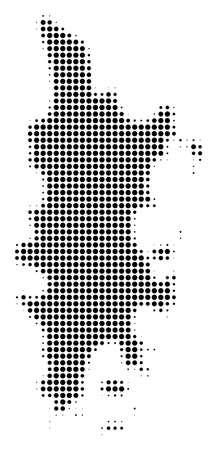Phuket Map halftone vector pictogram. Illustration style is dotted iconic Phuket Map icon symbol on a white background. Halftone texture is round spots. Иллюстрация