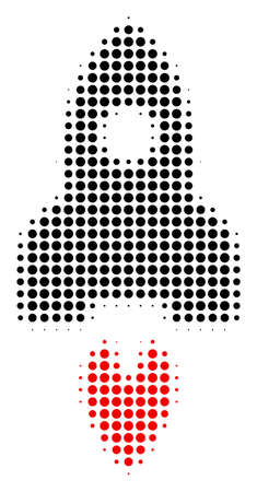 Space Rocket halftone vector pictogram. Illustration style is dotted iconic Space Rocket icon symbol on a white background. Halftone pattern is round points.